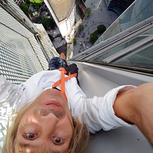Alain Robert Spiderman selfie from tower Engie La Defense Paris