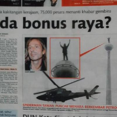 Le spiderman Alain Robert a encore frappe il grimpe Petronas a Kuala Lampur Malaysie
